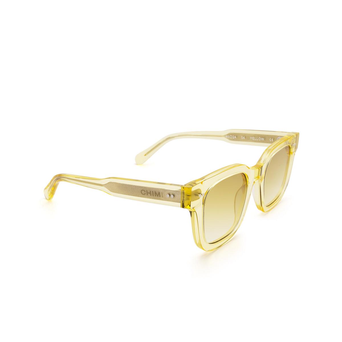 Chimi® Square Sunglasses: 04 color Yellow - three-quarters view.