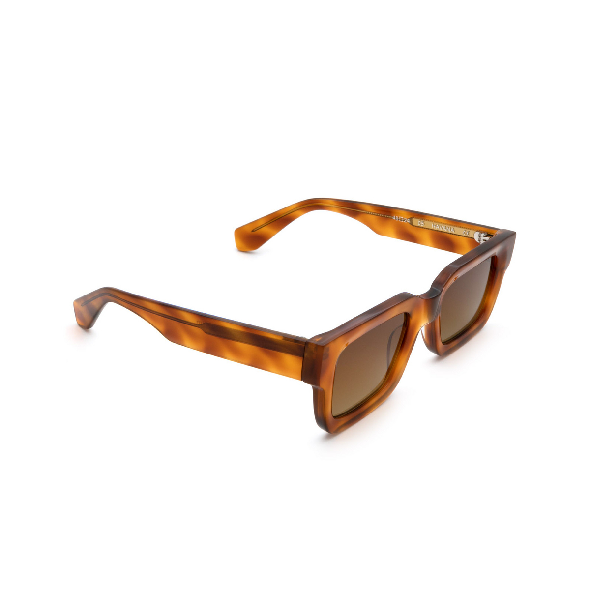 Chimi® Rectangle Sunglasses: 05 color Havana - three-quarters view.