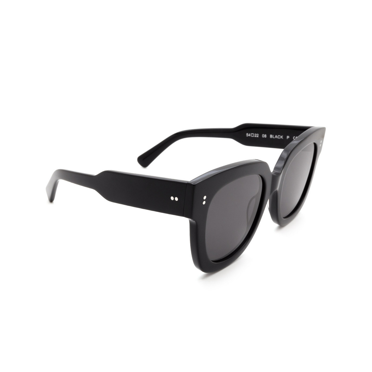 Chimi® Square Sunglasses: 08 color Black - three-quarters view.