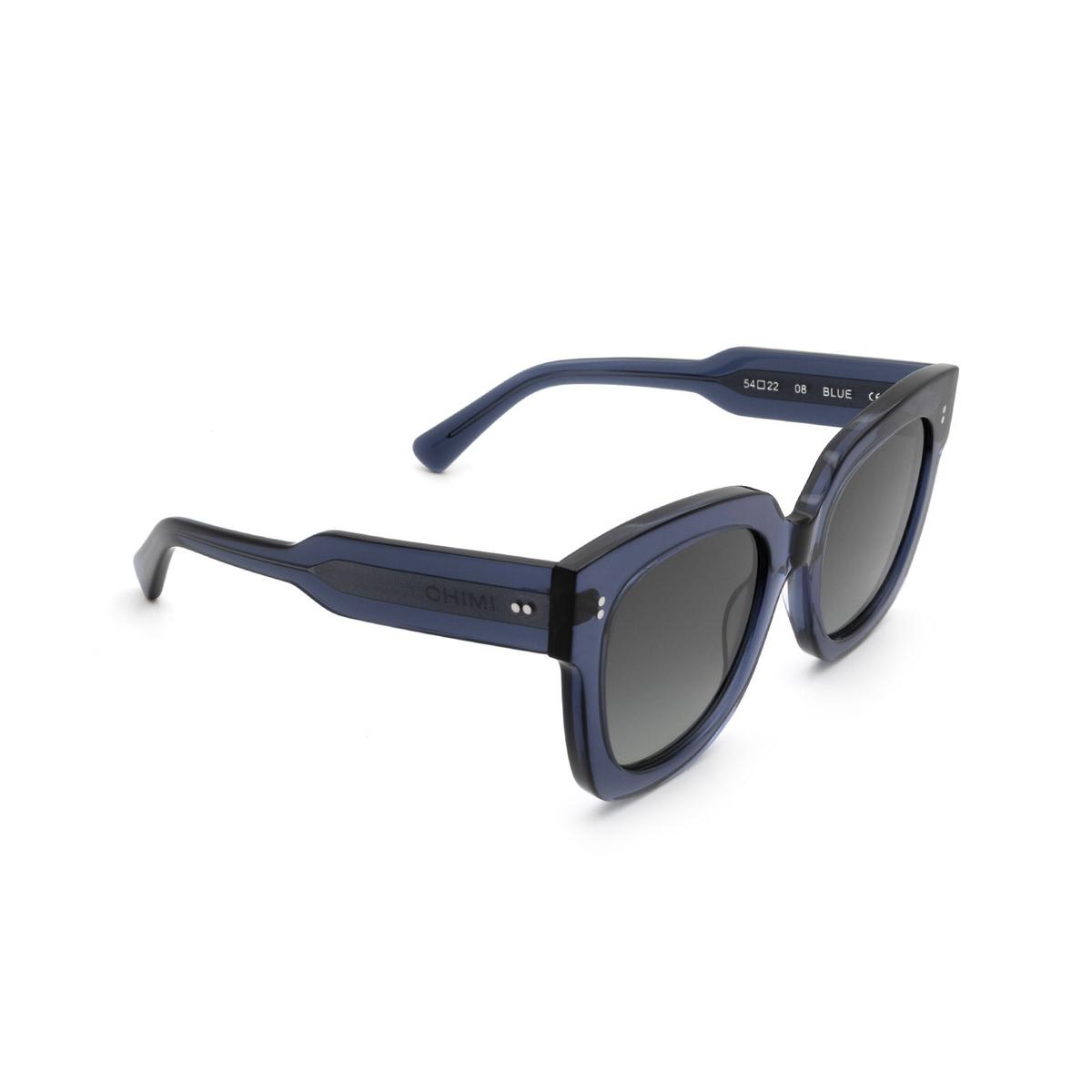 Chimi® Square Sunglasses: 08 color Blue - three-quarters view.
