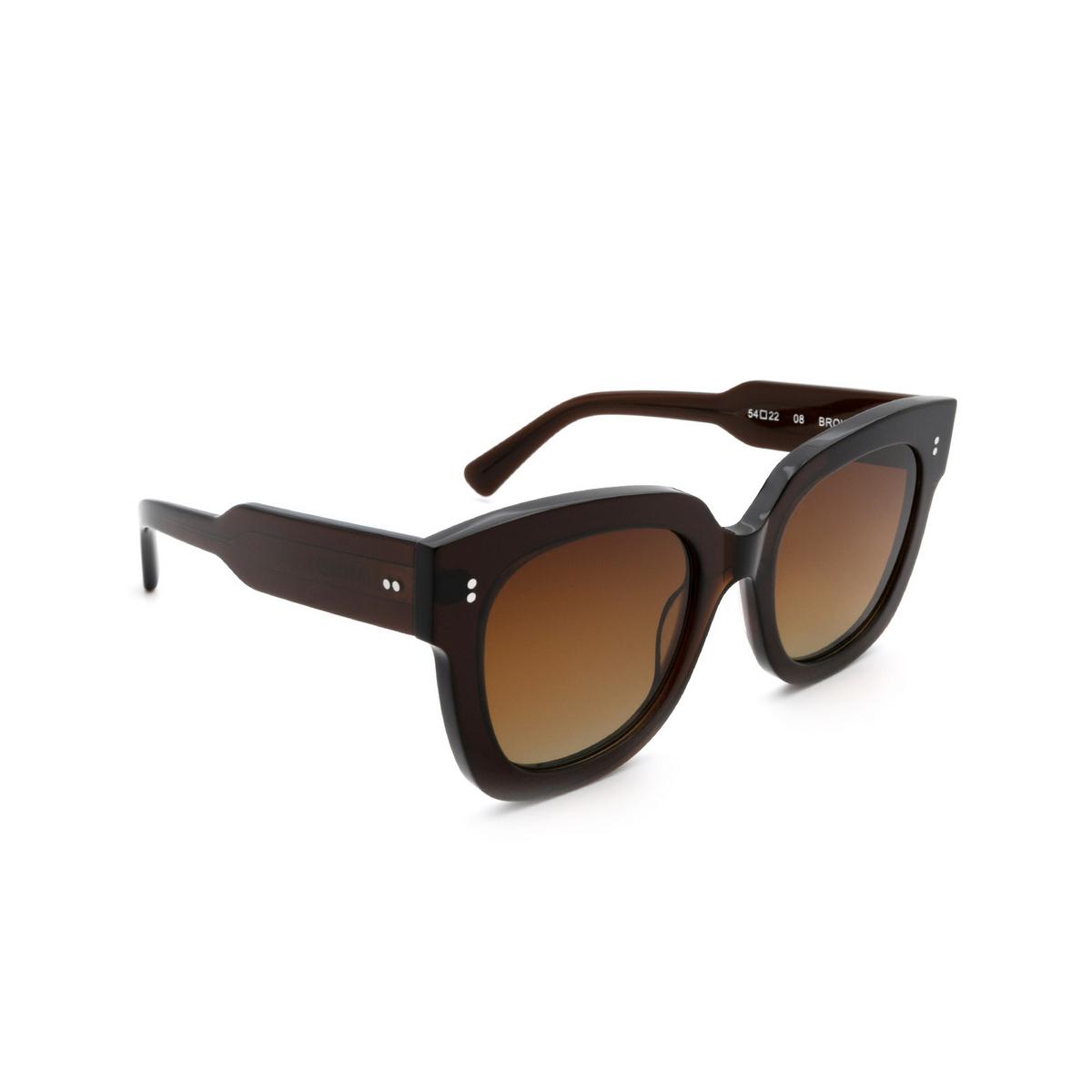 Chimi® Square Sunglasses: 08 color Brown - three-quarters view.
