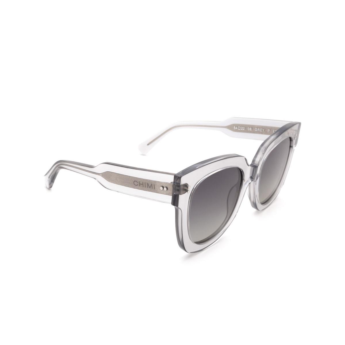 Chimi® Square Sunglasses: 08 color Grey - three-quarters view.