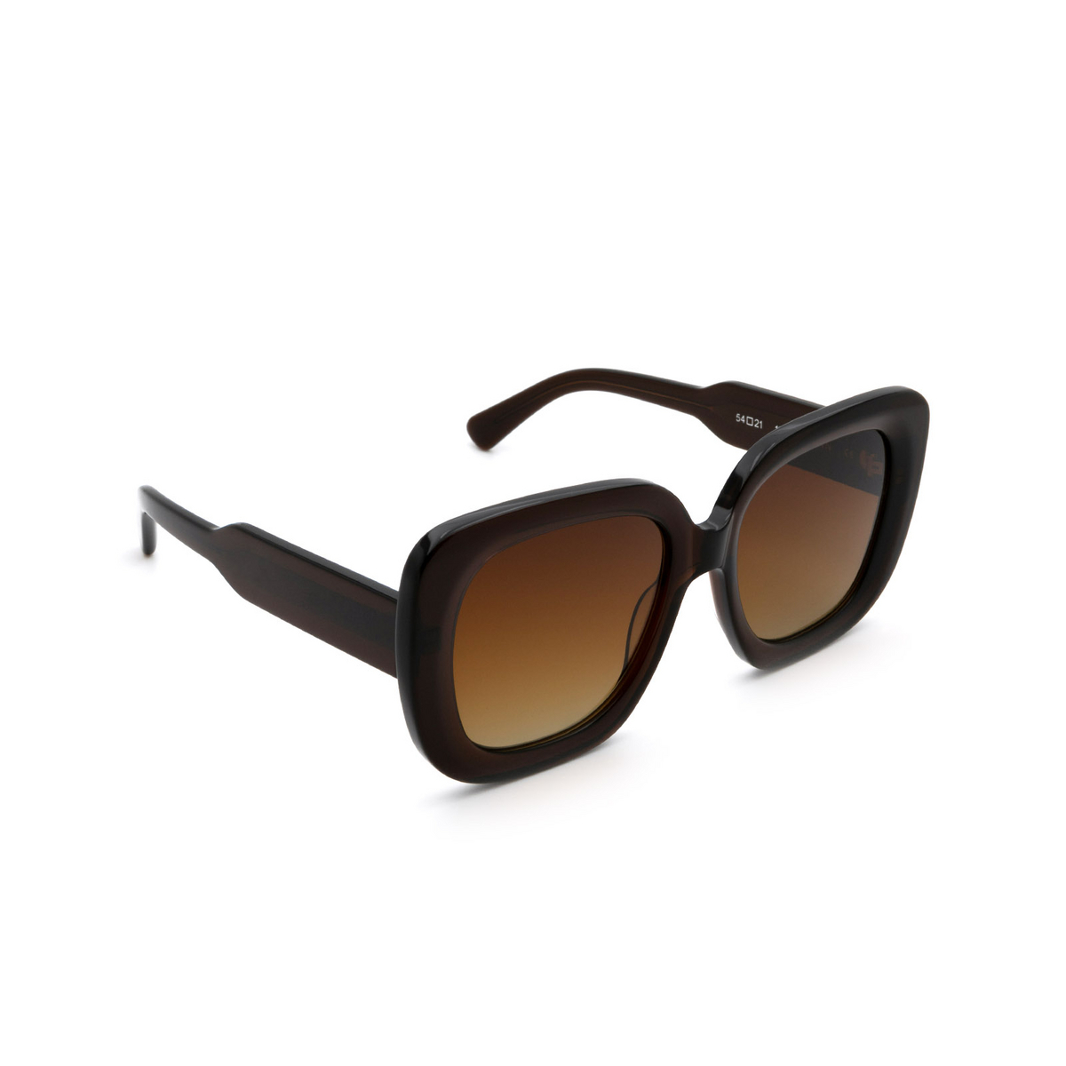 Chimi® Square Sunglasses: 10 color Brown - three-quarters view.