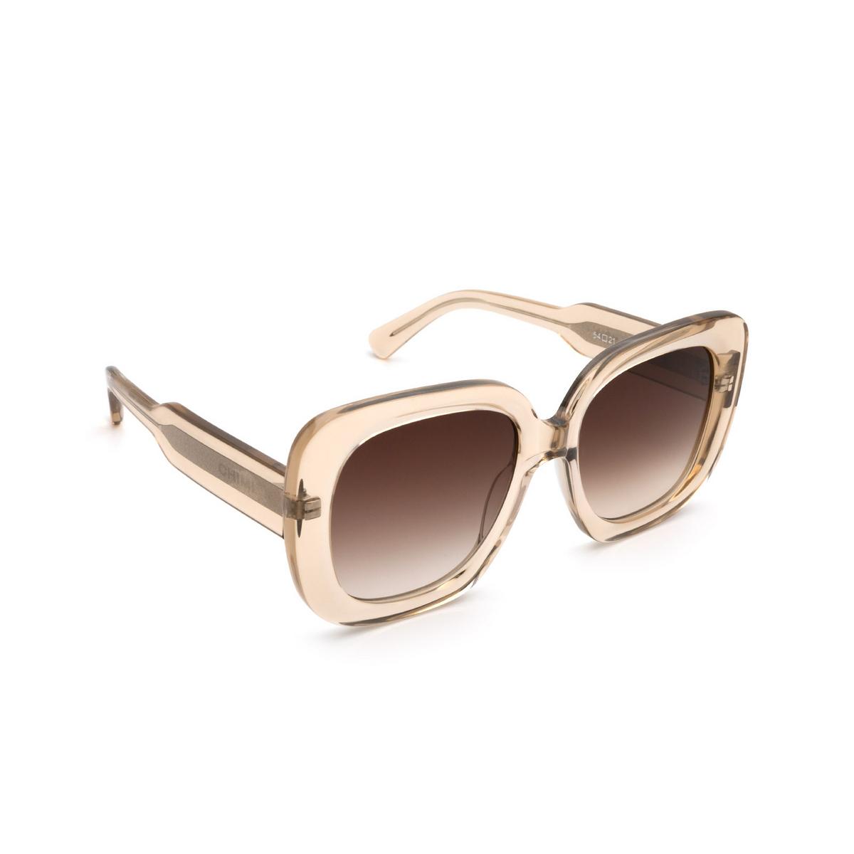 Chimi® Square Sunglasses: 10 color Ecru - three-quarters view.