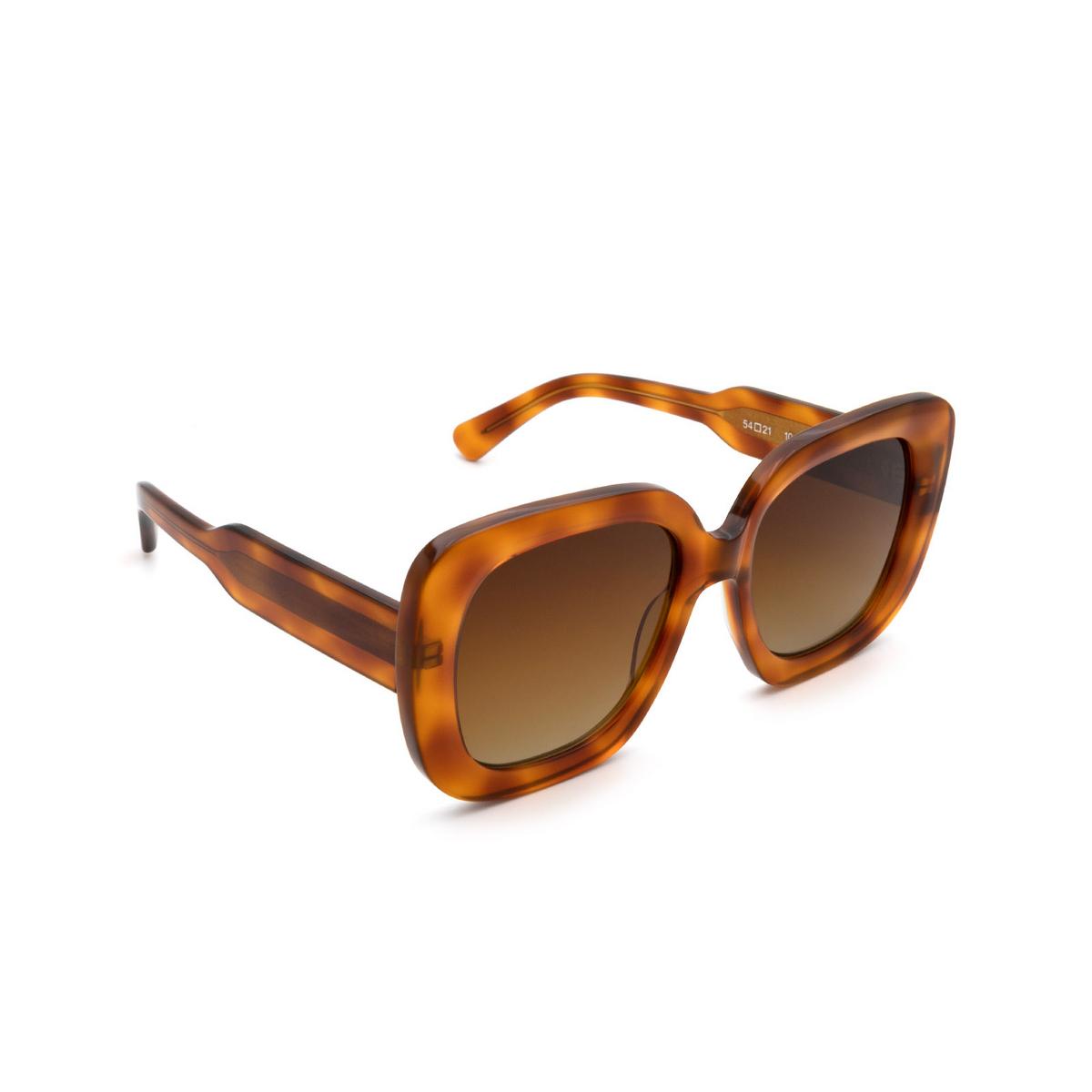 Chimi® Square Sunglasses: 10 color Havana - three-quarters view.
