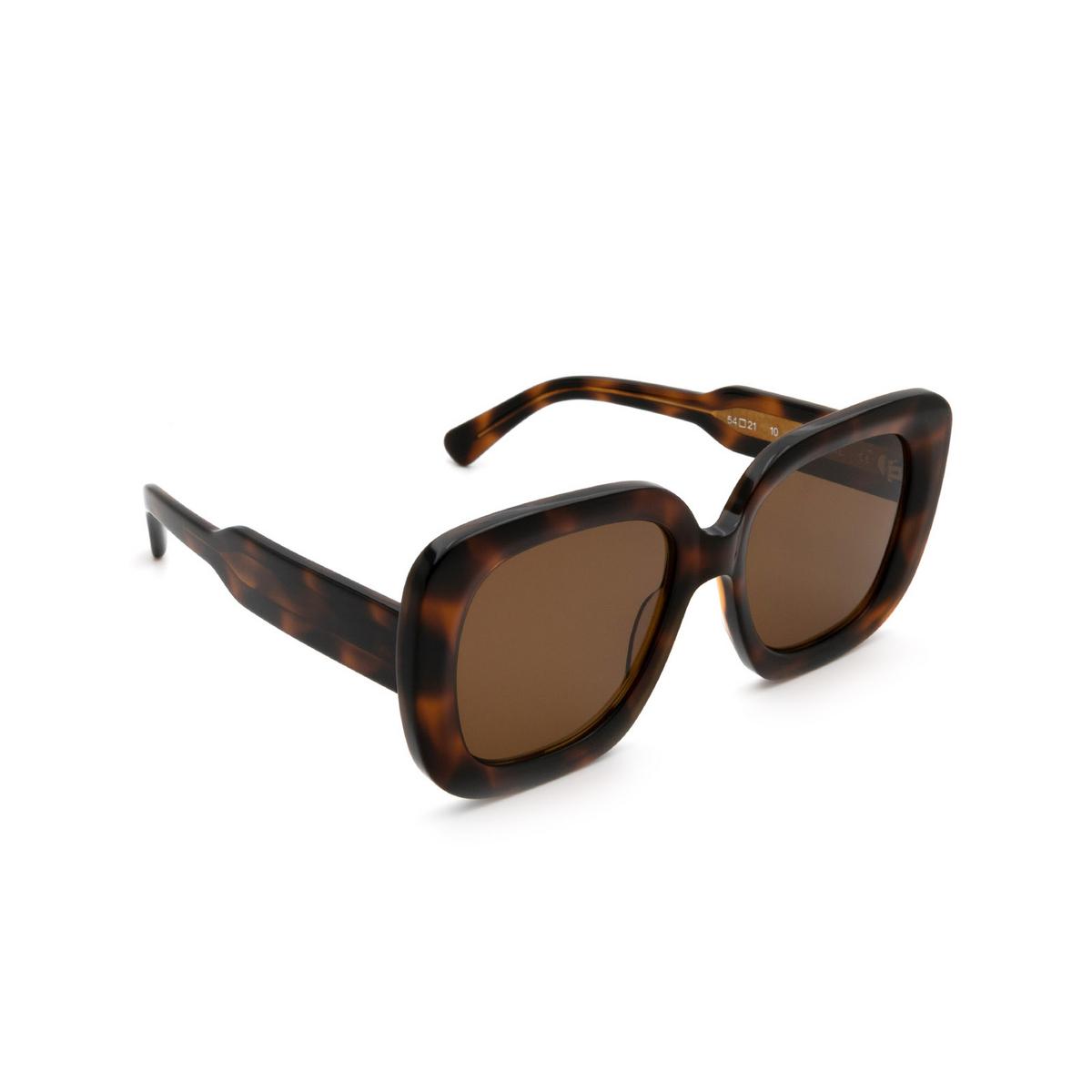 Chimi® Square Sunglasses: 10 color Tortoise - three-quarters view.