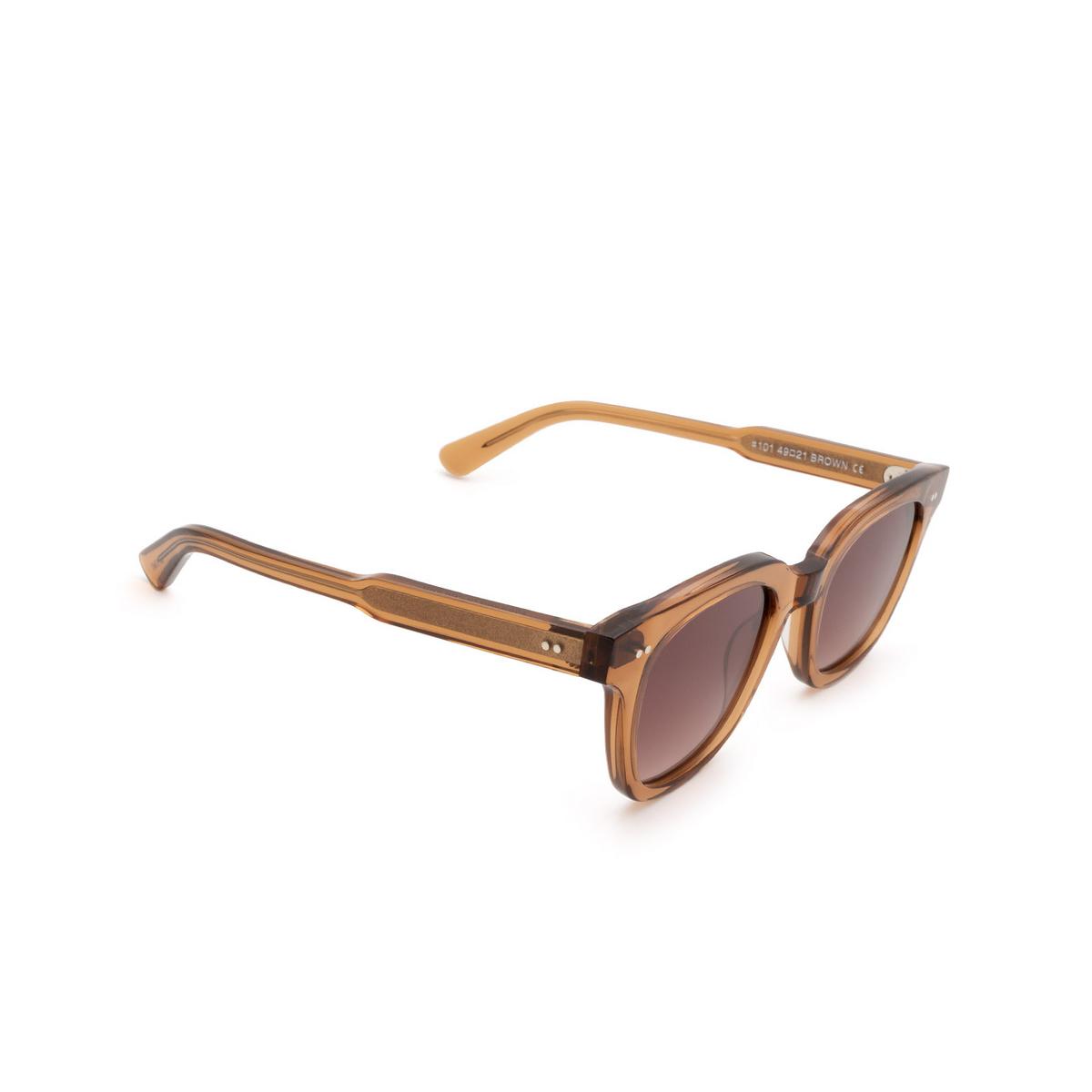 Chimi® Square Sunglasses: #101 color Brown Cinnamon Brown - three-quarters view.