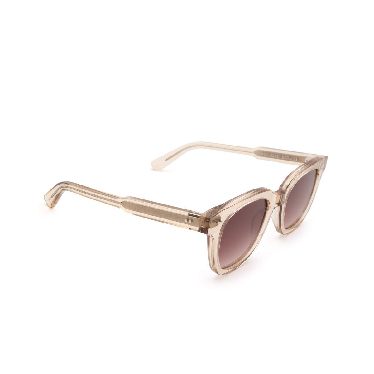 Chimi® Square Sunglasses: #101 color Light Beige Ecru - three-quarters view.