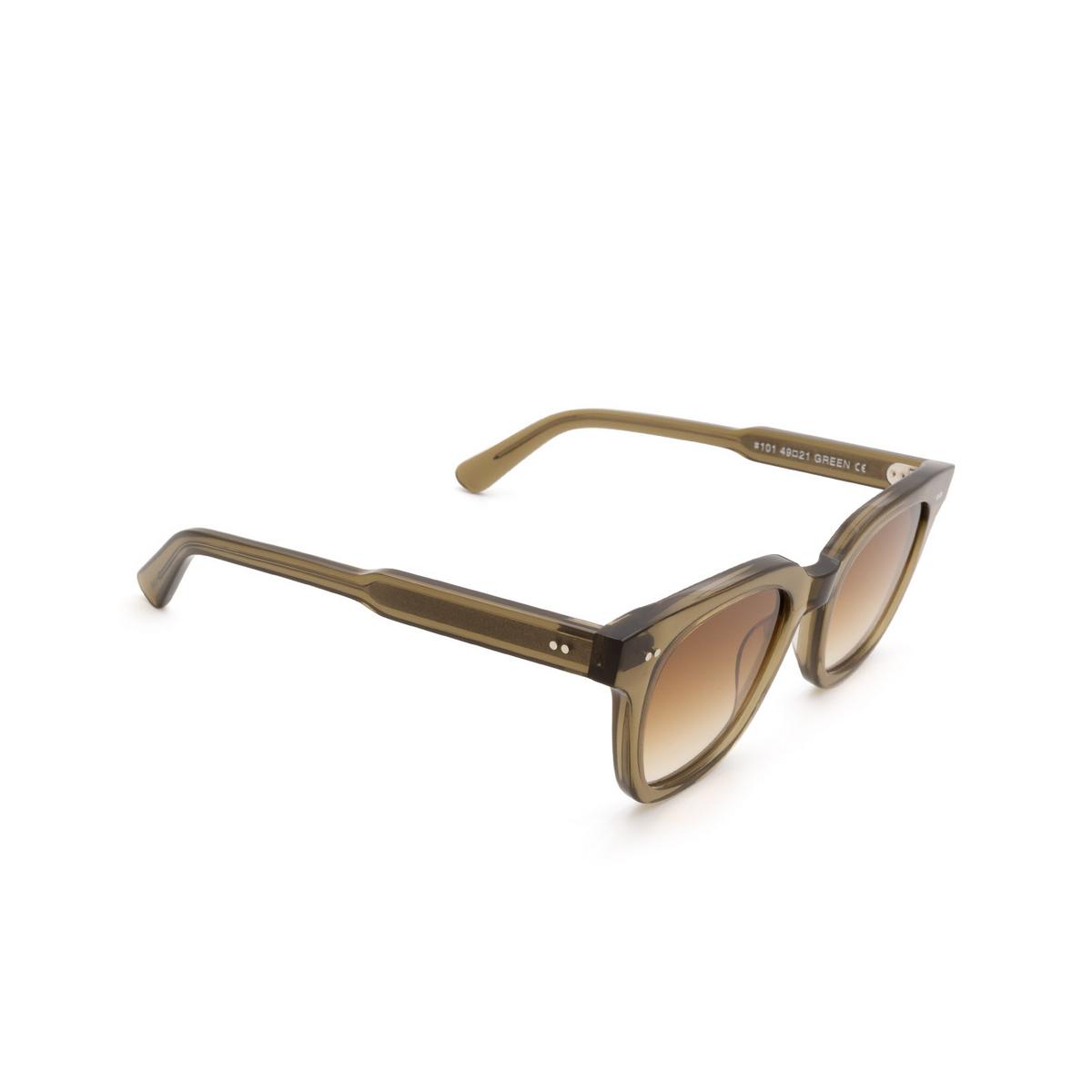 Chimi® Square Sunglasses: #101 color Olive Green Green - three-quarters view.