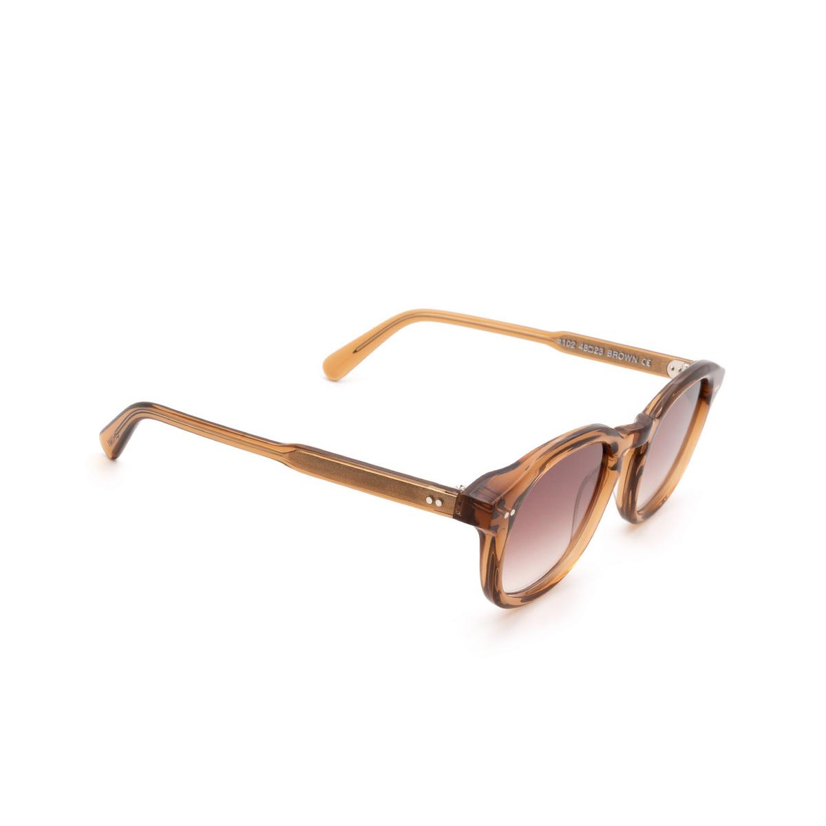 Chimi® Square Sunglasses: #102 color Brown Cinnamon Brown - three-quarters view.