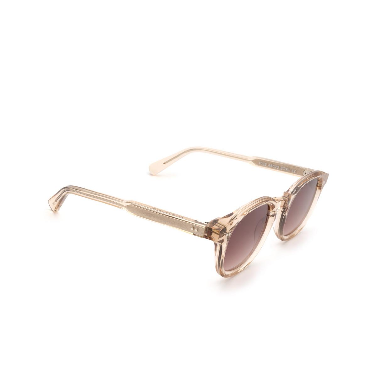 Chimi® Square Sunglasses: #102 color Light Beige Ecru - three-quarters view.