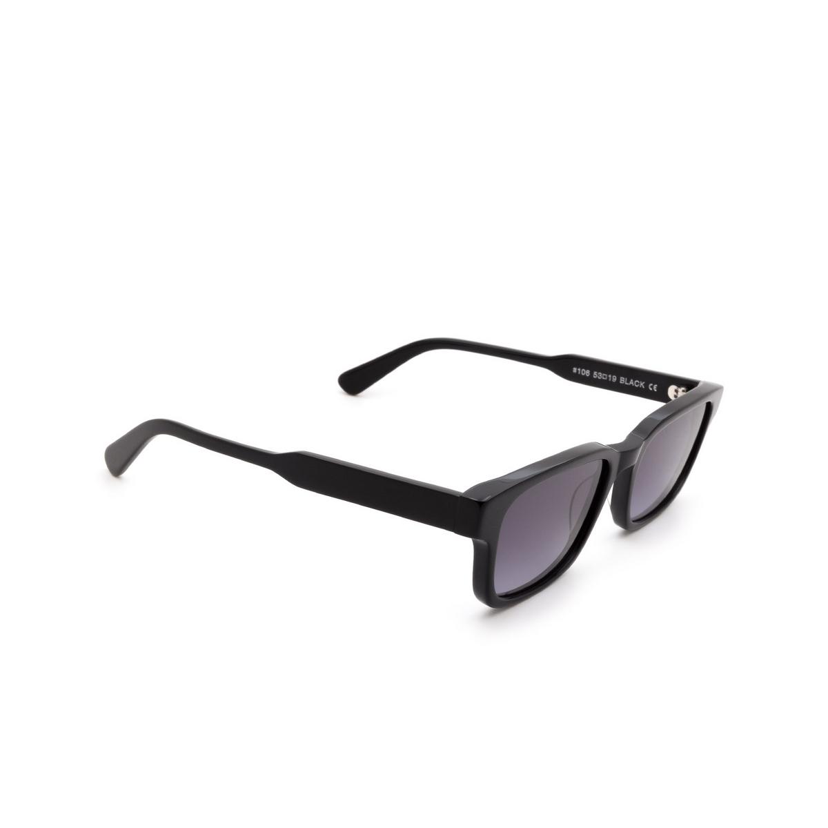 Chimi® Rectangle Sunglasses: #106 color Black - three-quarters view.