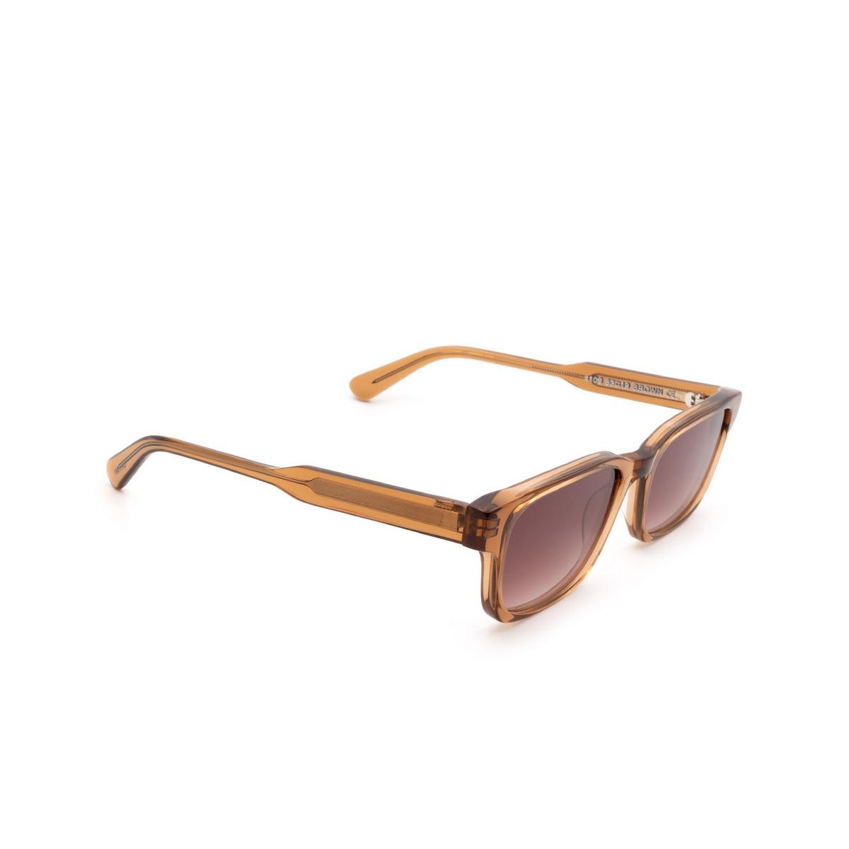 Chimi® Rectangle Sunglasses: #106 color Brown Cinnamon Brown - three-quarters view.