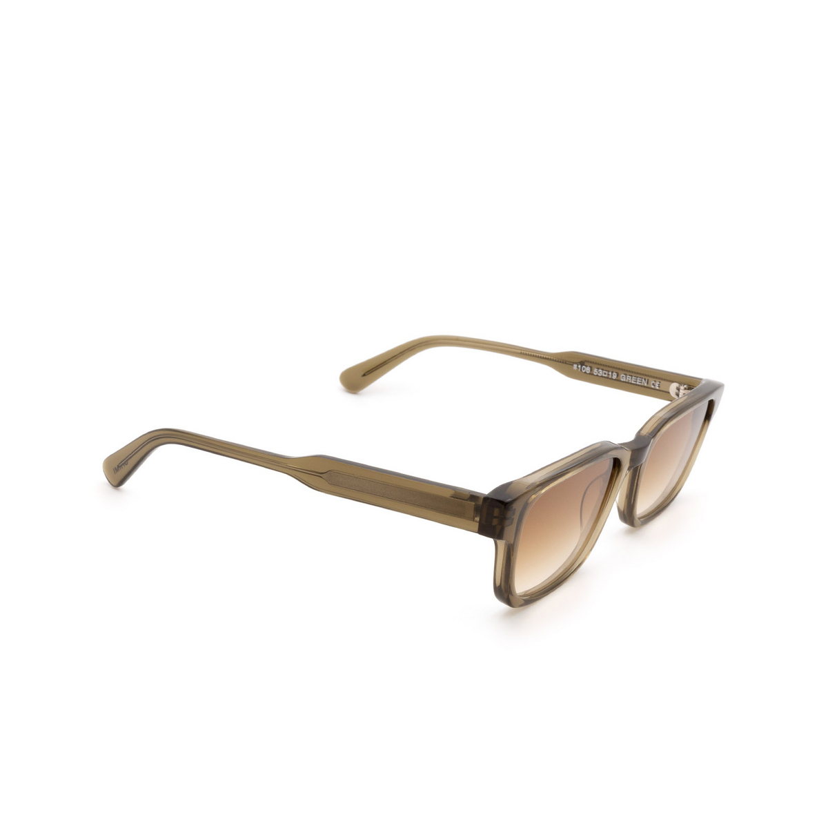 Chimi® Rectangle Sunglasses: #106 color Olive Green Green - three-quarters view.