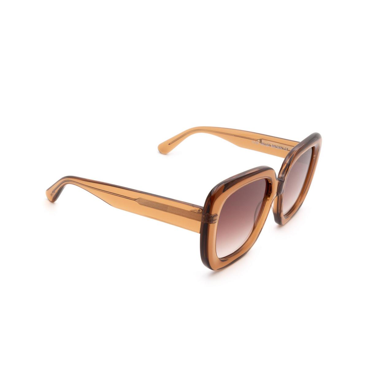 Chimi® Square Sunglasses: #108 color Brown - three-quarters view.