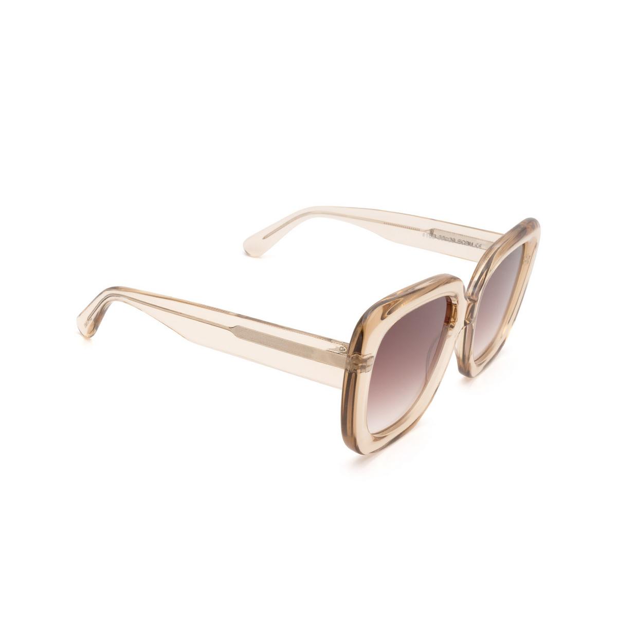 Chimi® Square Sunglasses: #108 color Light Beige Ecru - three-quarters view.