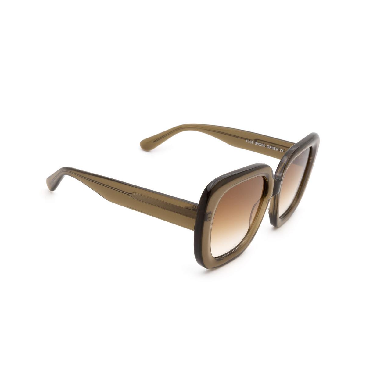 Chimi® Square Sunglasses: #108 color Olive Green Green - three-quarters view.
