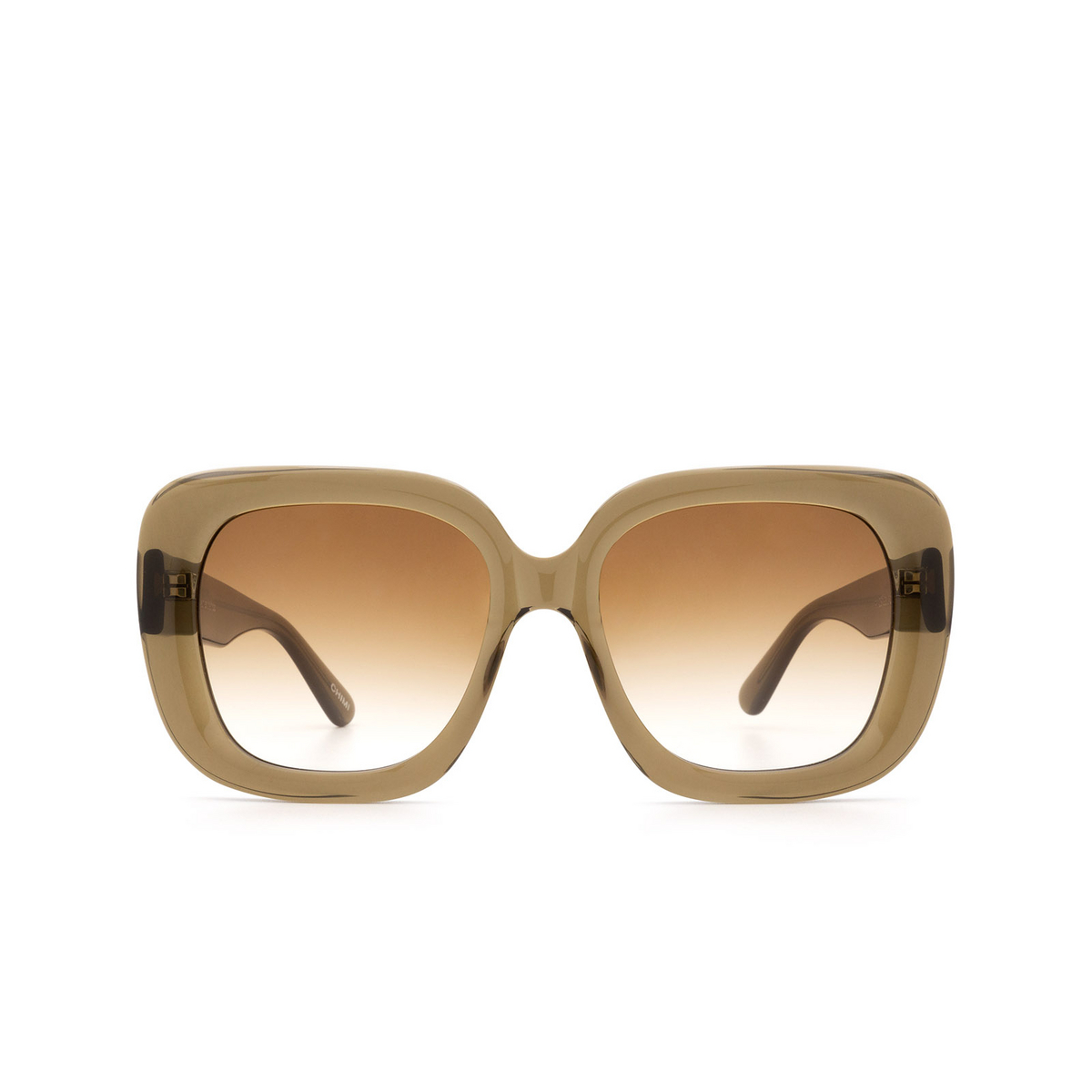 Chimi® Square Sunglasses: #108 color Olive Green Green - front view.