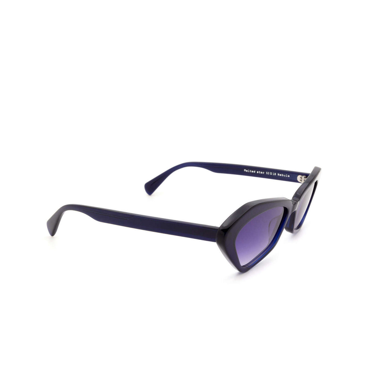 Chimi® Irregular Sunglasses: Space Melted Star color Blue Nebula - three-quarters view.