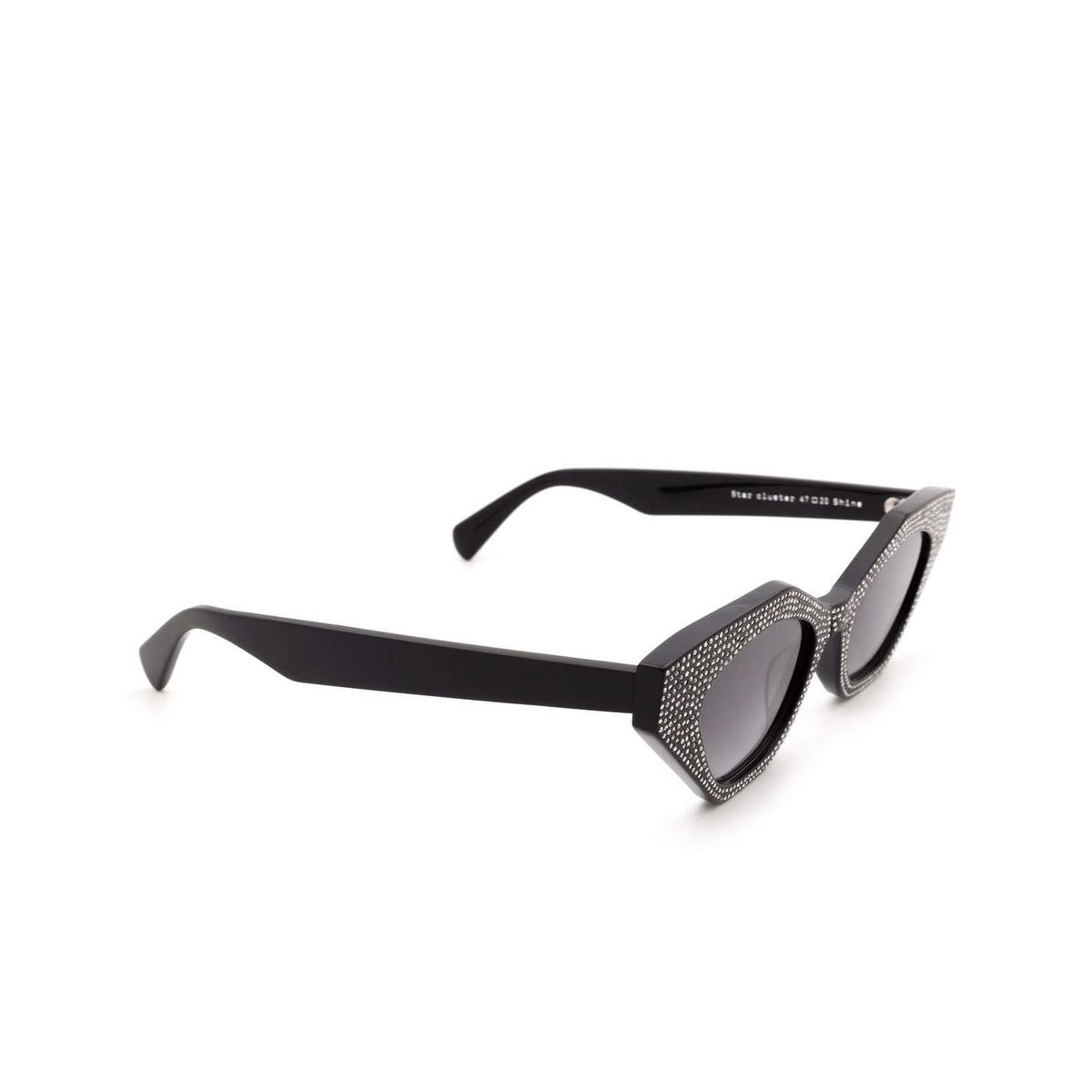 Chimi® Cat-eye Sunglasses: Star Cluster color Black Shine - three-quarters view.