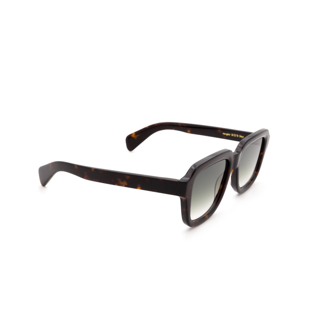 Chimi® Square Sunglasses: Voyage Navigator color Onyx - three-quarters view.