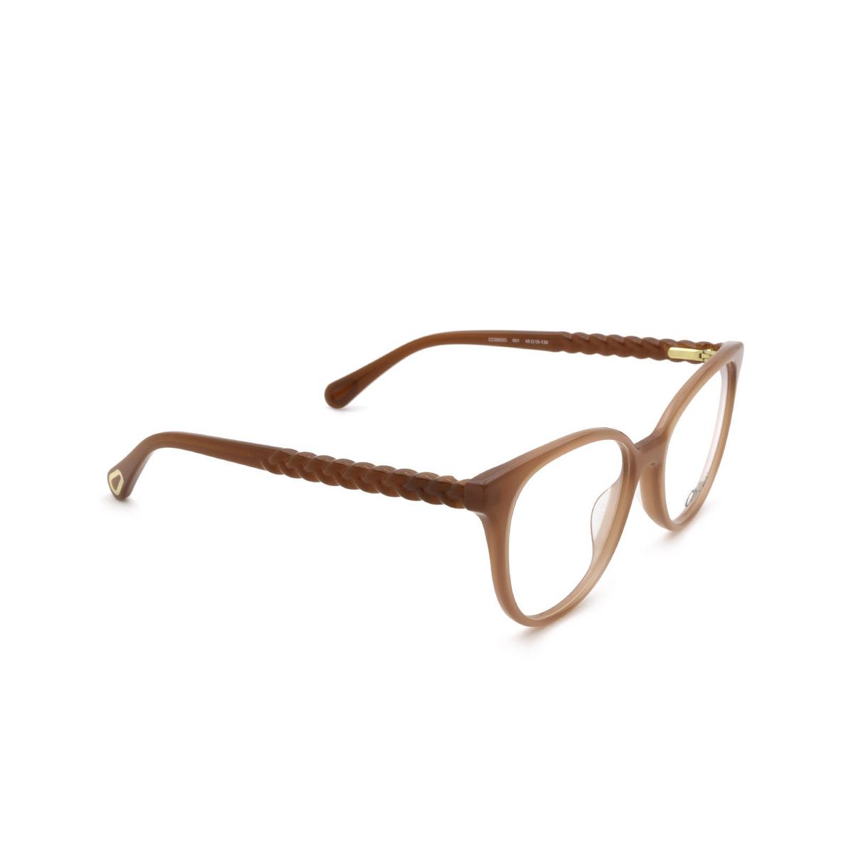 Chloé® Cat-eye Eyeglasses: CC0002O color Orange 001 - three-quarters view.