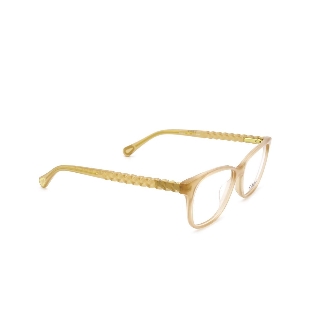 Chloé® Rectangle Eyeglasses: CC0003O color Nude 001 - three-quarters view.