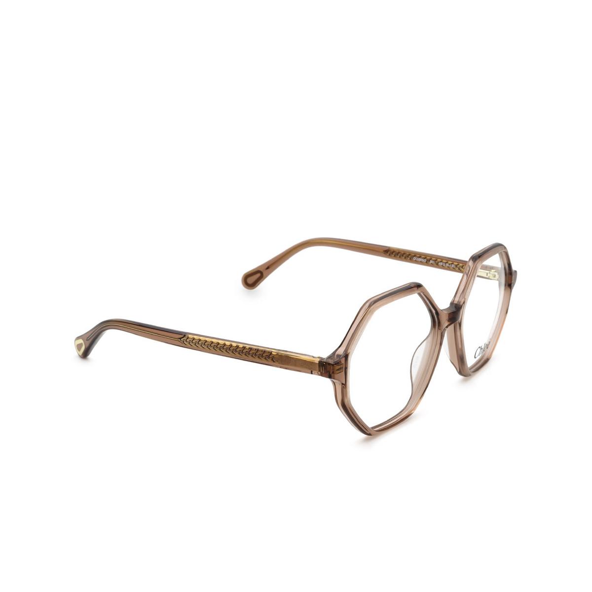 Chloé® Irregular Eyeglasses: CC0005O color Pink 001 - three-quarters view.