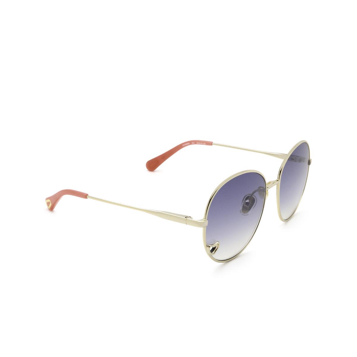 Chloé® Round Sunglasses: CC0006S color Gold 002 - three-quarters view.