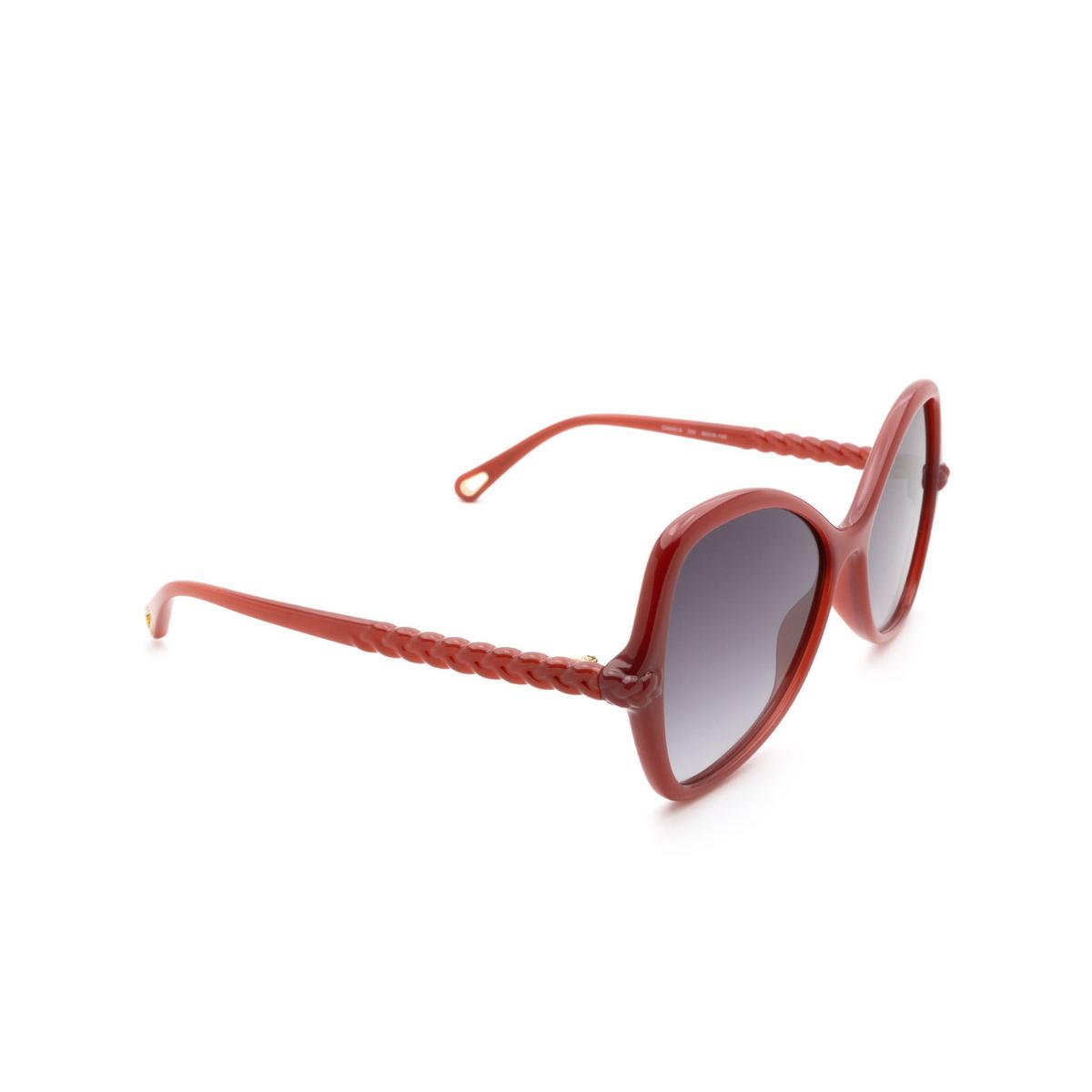 Chloé® Butterfly Sunglasses: CH0001S color Orange 004 - three-quarters view.