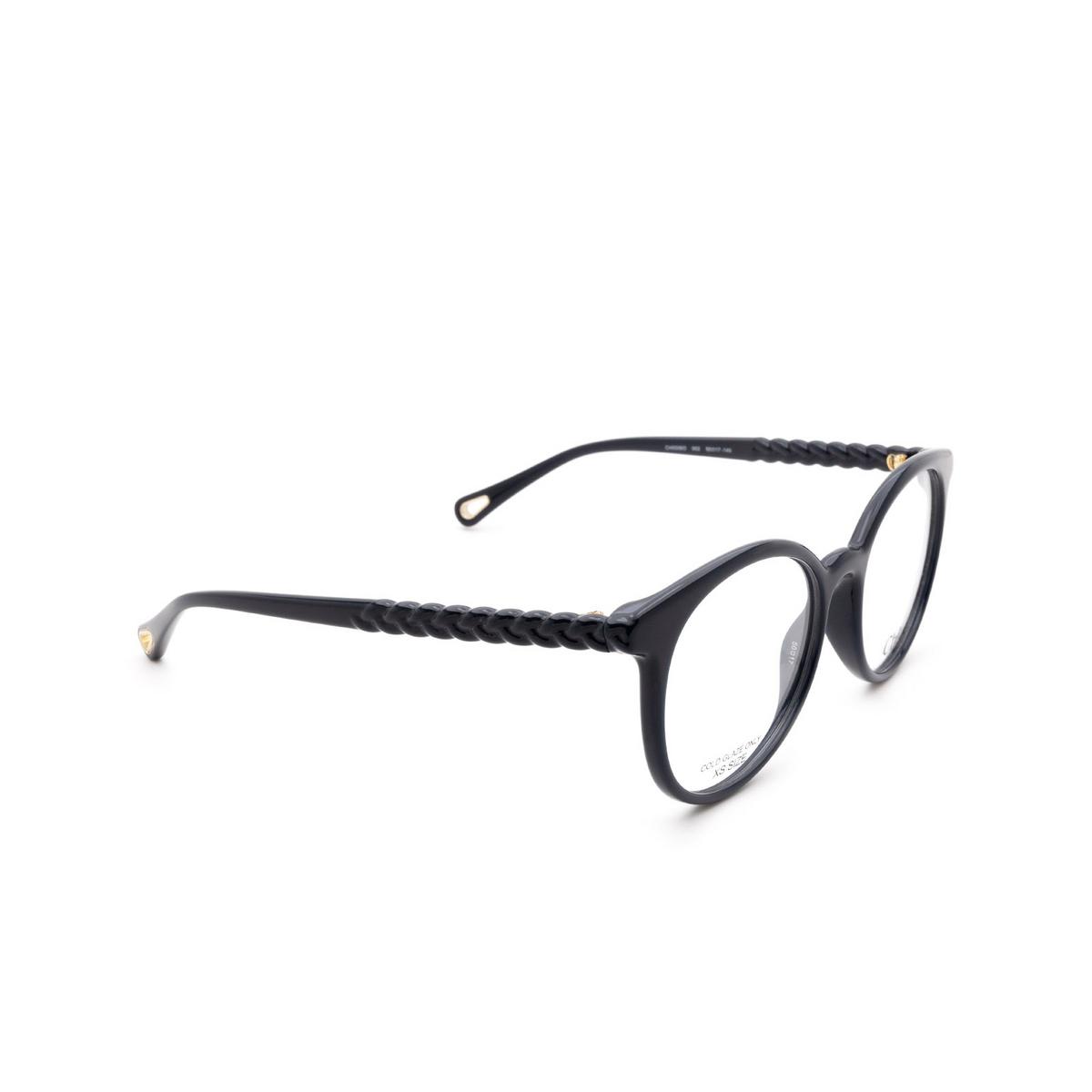 Chloé® Round Eyeglasses: CH0006O color Blue 002 - three-quarters view.