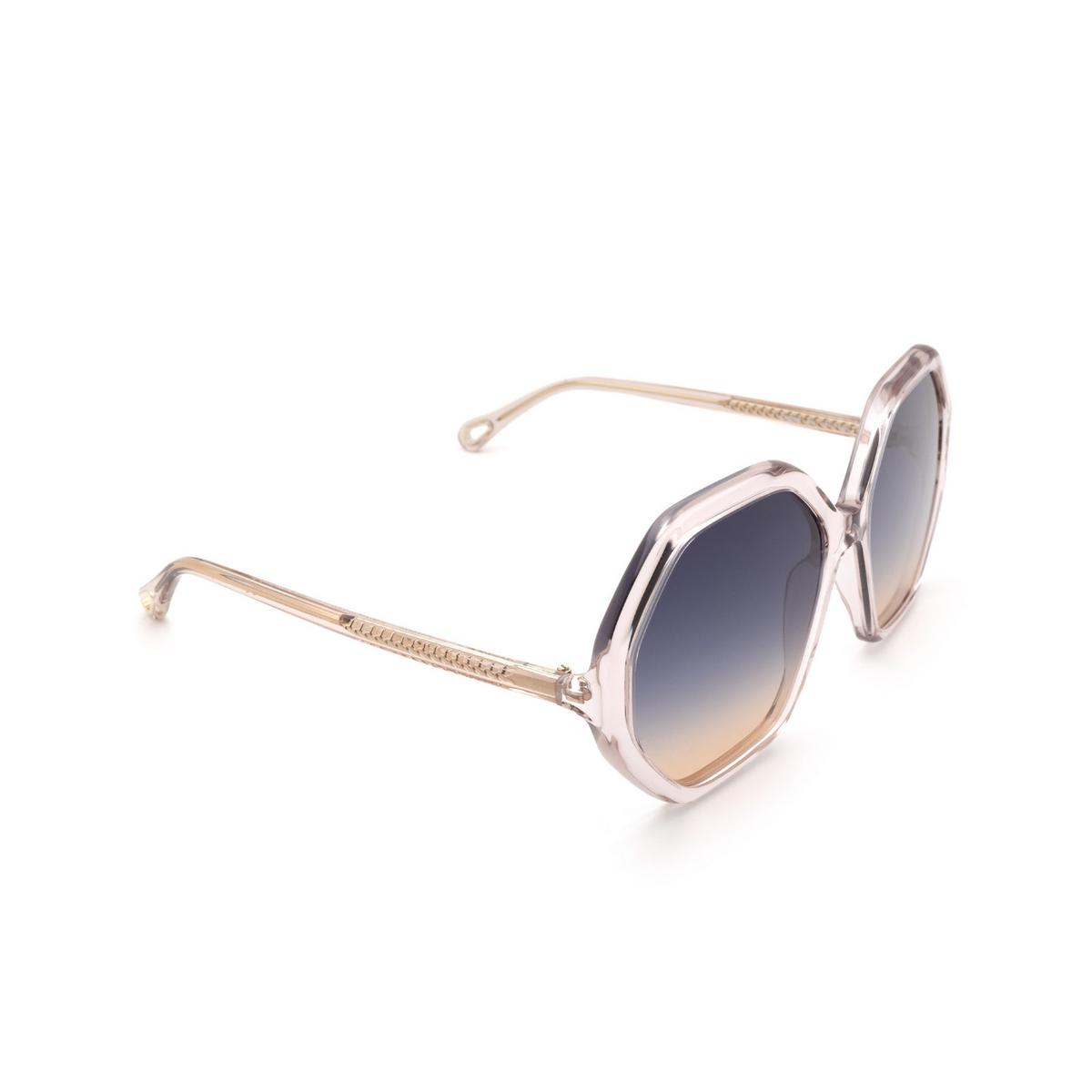 Chloé® Irregular Sunglasses: CH0008S color Pink 002 - three-quarters view.