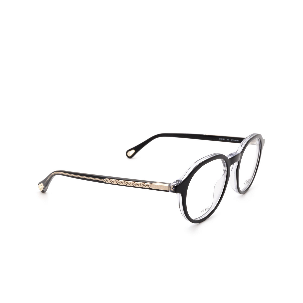 Chloé® Round Eyeglasses: CH0012O color Black 003 - three-quarters view.