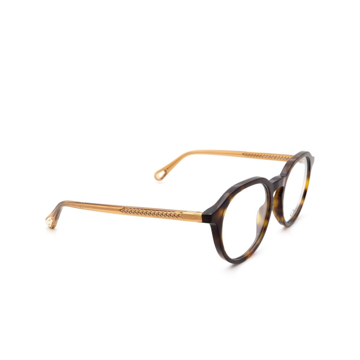 Chloé® Round Eyeglasses: CH0012O color Havana 008 - three-quarters view.