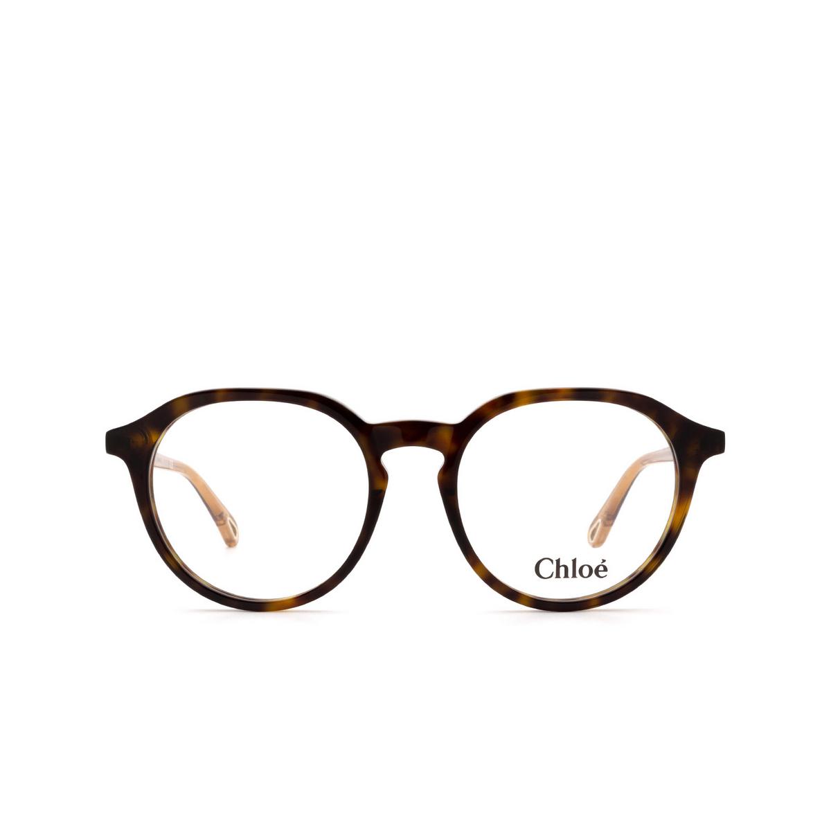 Chloé® Round Eyeglasses: CH0012O color Havana 008 - front view.