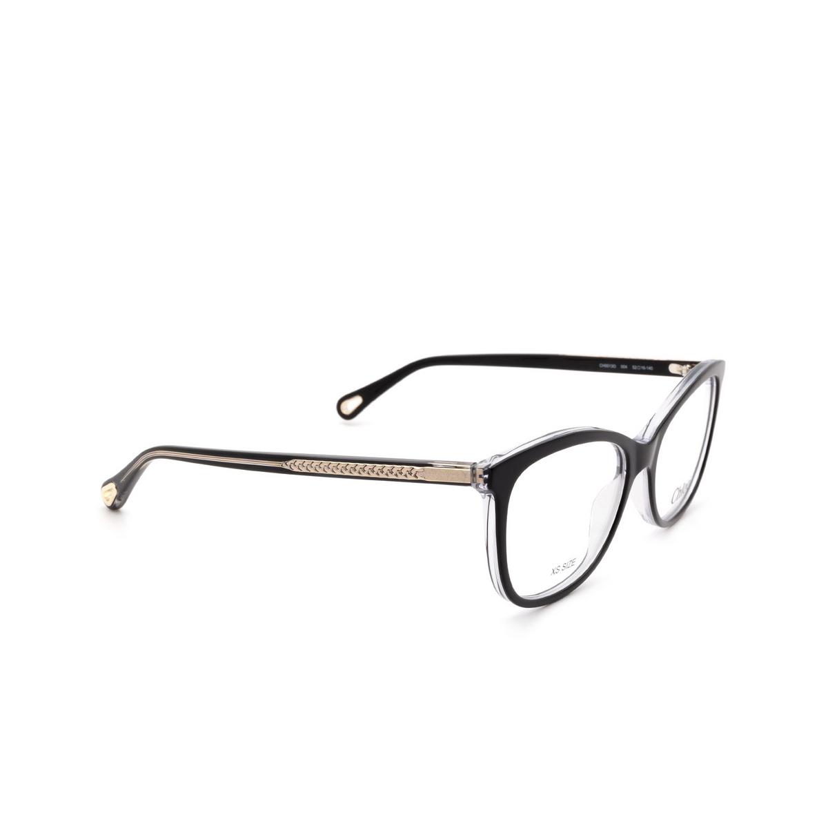 Chloé® Rectangle Eyeglasses: CH0013O color Black 004 - three-quarters view.