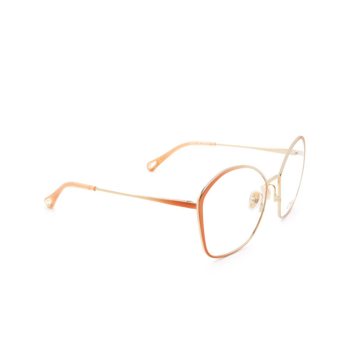 Chloé® Irregular Eyeglasses: CH0017O color Gold & Nude 003 - three-quarters view.