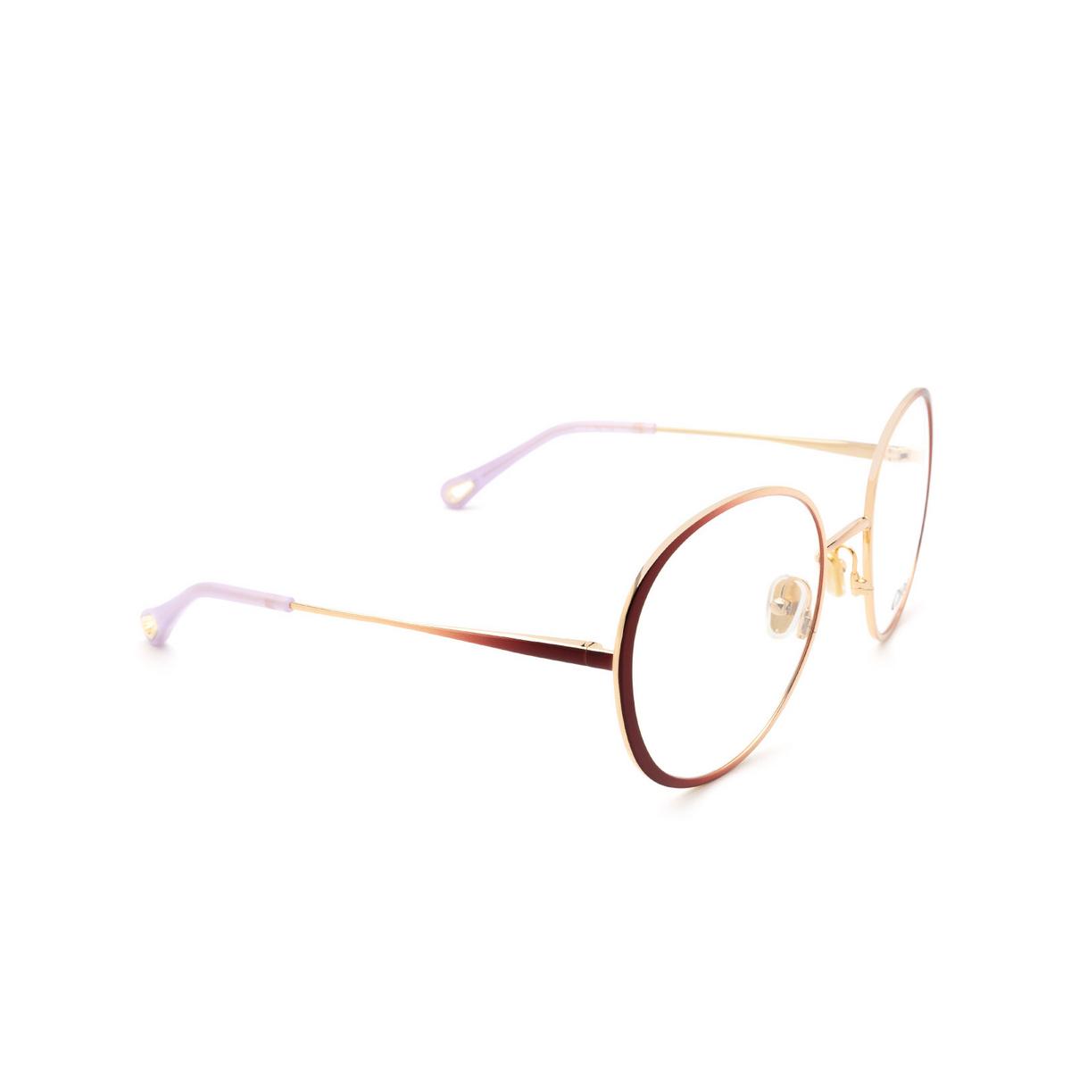 Chloé® Round Eyeglasses: CH0018O color Gold & Burgundy 001 - three-quarters view.