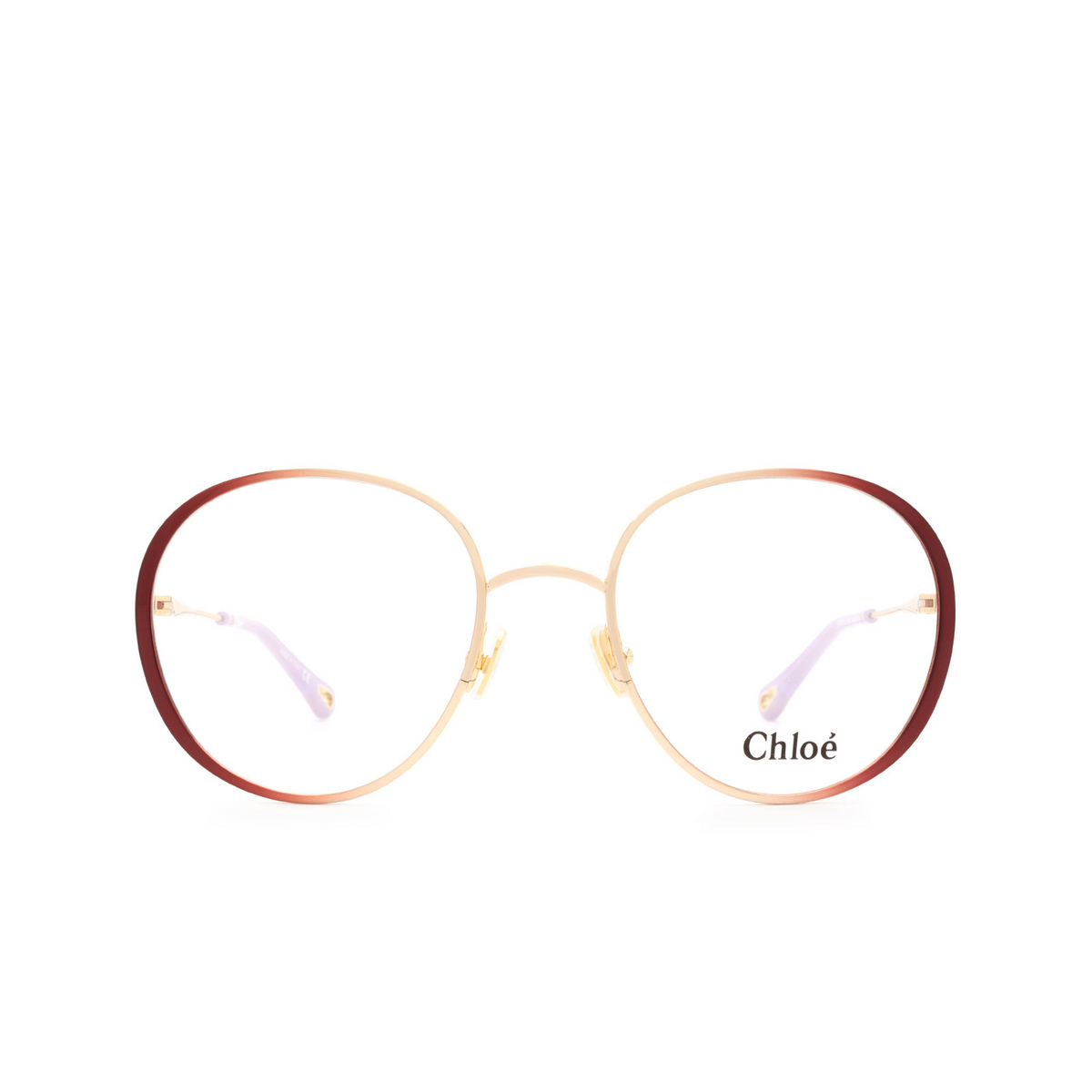 Chloé® Round Eyeglasses: CH0018O color Gold & Burgundy 001 - front view.