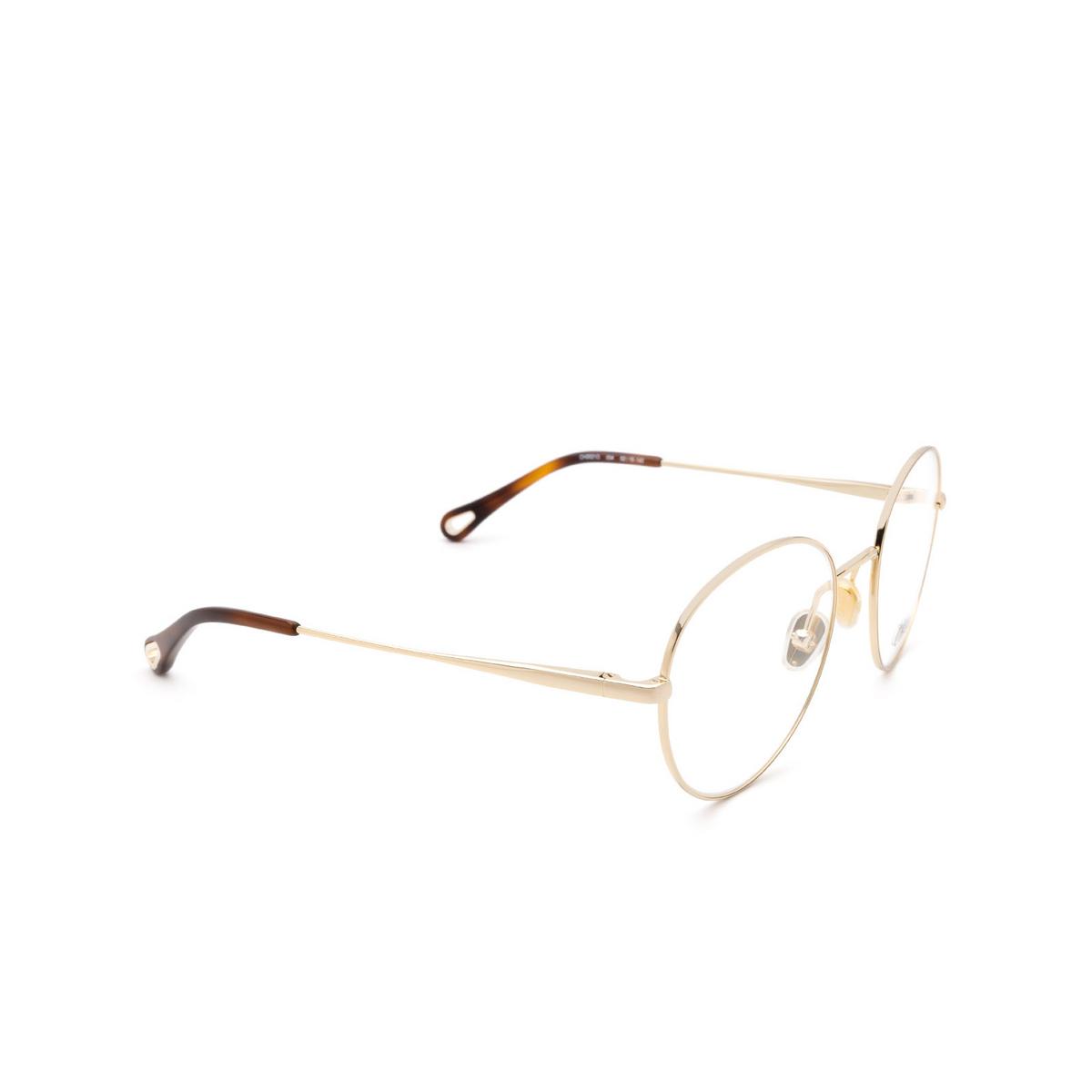 Chloé® Round Eyeglasses: CH0021O color Gold 004 - three-quarters view.