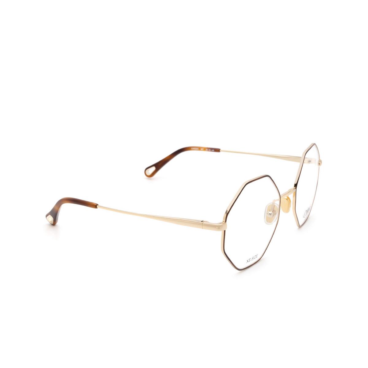 Chloé® Irregular Eyeglasses: CH0022O color Gold & Havana 007 - three-quarters view.