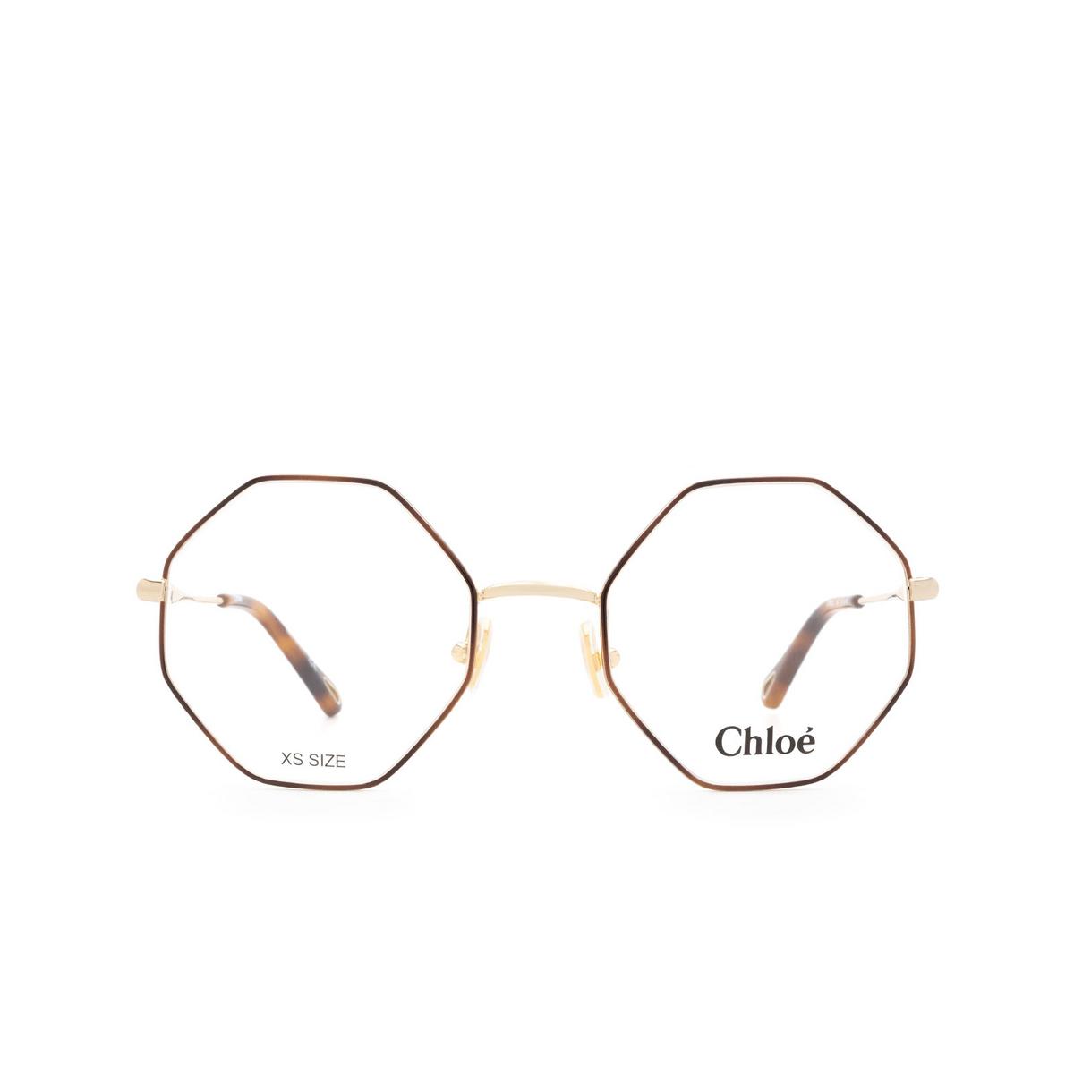 Chloé® Irregular Eyeglasses: CH0022O color Gold & Havana 007 - front view.