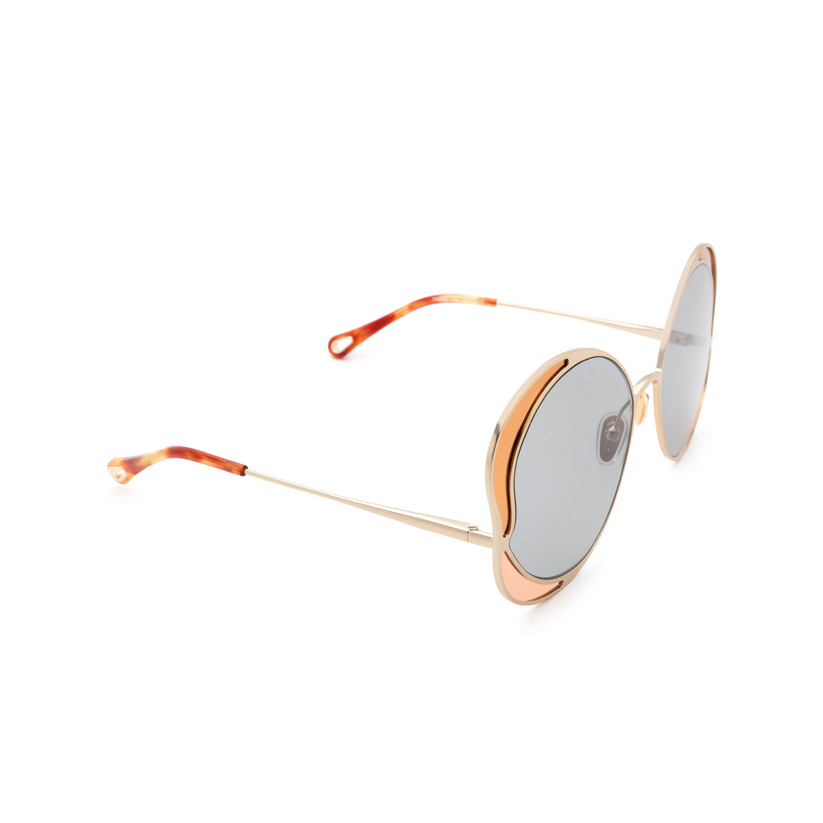 Chloé® Butterfly Sunglasses: CH0024S color Gold 002 - three-quarters view.