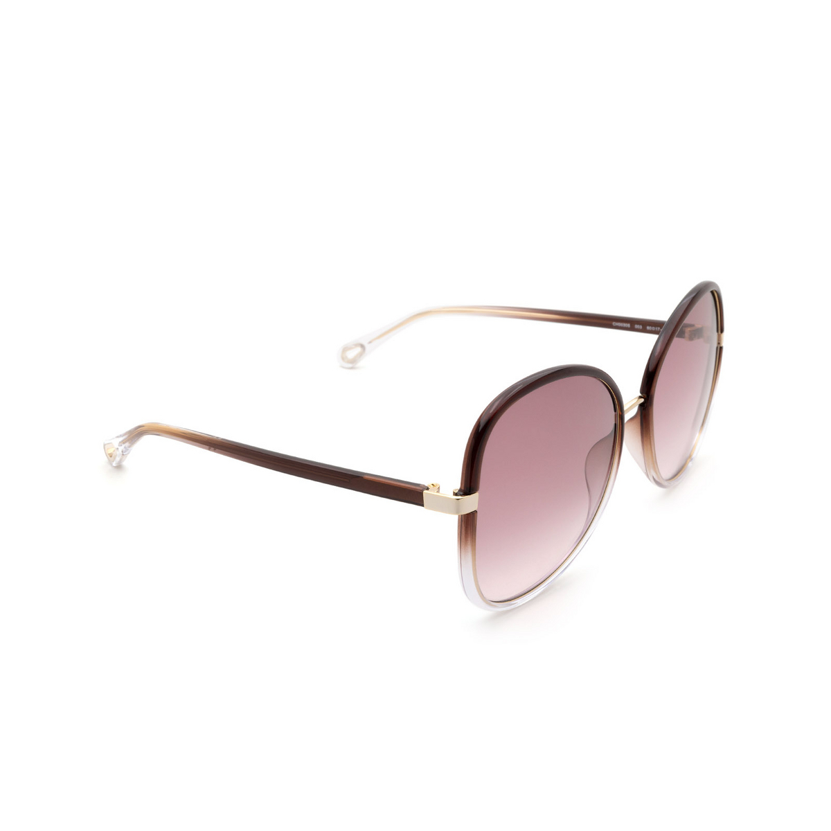 Chloé® Butterfly Sunglasses: CH0030S color Brown 003 - three-quarters view.
