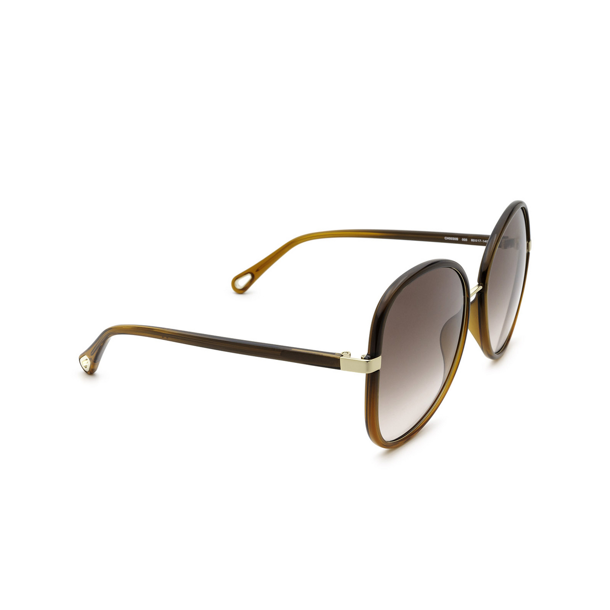 Chloé® Butterfly Sunglasses: CH0030S color Brown 005 - three-quarters view.