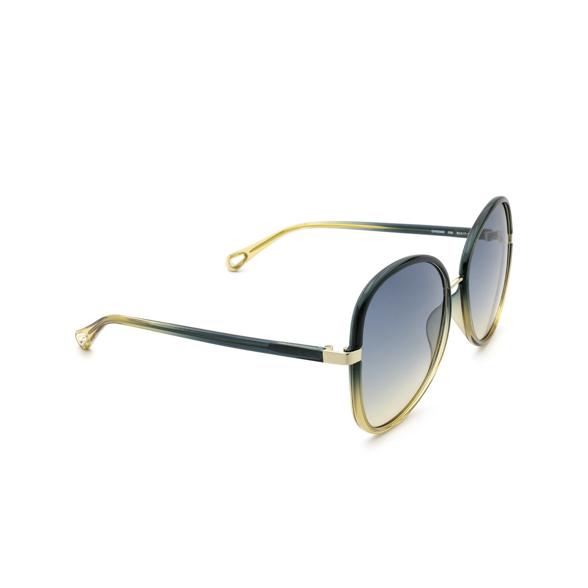 Chloé® Butterfly Sunglasses: CH0030S color Green 006 - three-quarters view.