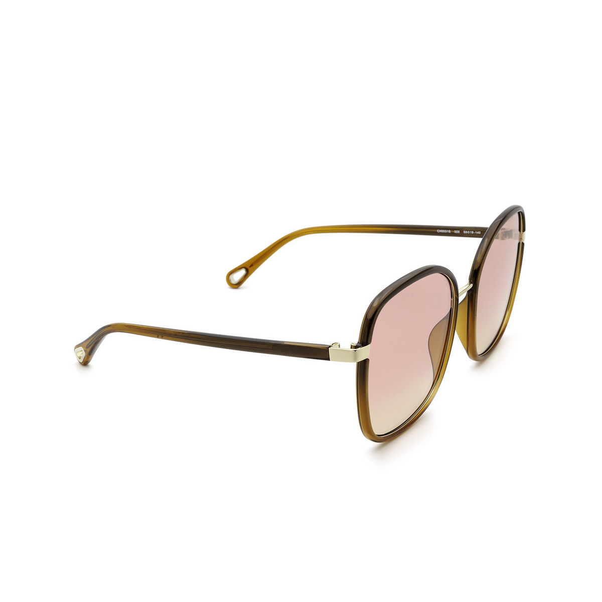 Chloé® Square Sunglasses: CH0031S color Brown 006 - three-quarters view.