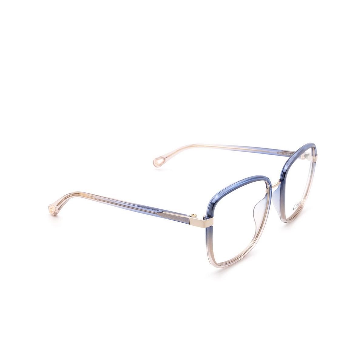 Chloé® Square Eyeglasses: CH0034O color Blue 002 - three-quarters view.