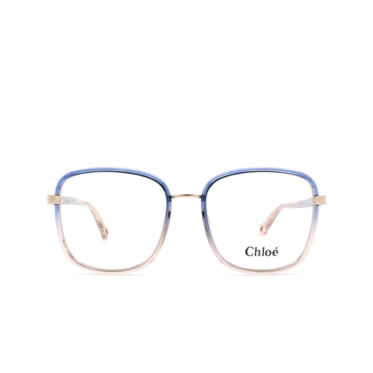 Chloé® Square Eyeglasses: CH0034O color Blue 002 - front view.