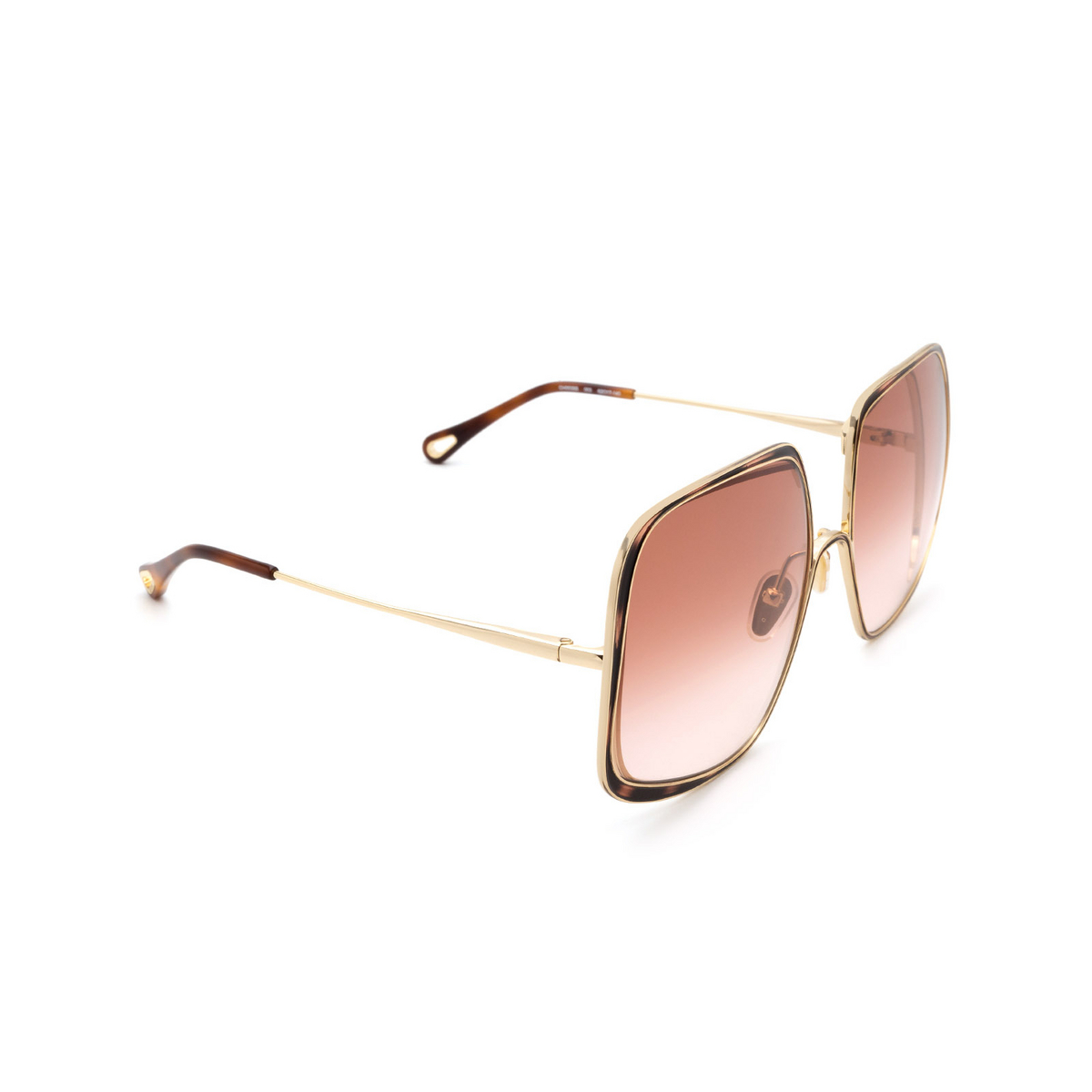 Chloé ® Square Sunglasses: CH0035S color Gold & Havana 003.
